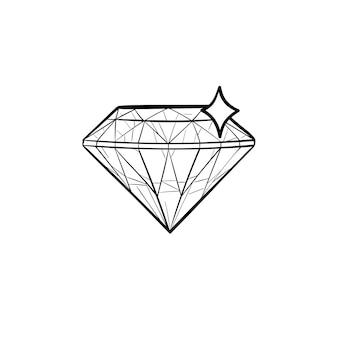 Ícone de doodle de contorno desenhado de mão de diamante. joias, presente vintage de romance, valioso real, conceito de forma de diamante. ilustração de desenho vetorial para impressão, web, mobile e infográficos em fundo branco.