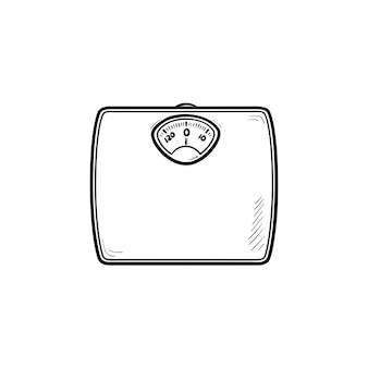 Ícone de doodle de contorno desenhado de mão de escala de peso. dieta e saúde, dispositivo de medição de peso, conceito de excesso de peso