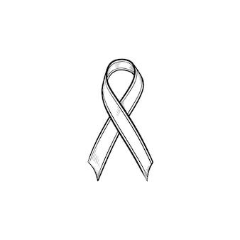 Ícone de doodle de contorno desenhado de mão de fita de consciência. fita da aids do câncer de mama. conceito de luto