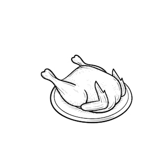 Ícone de doodle de contorno desenhado de mão de frango cozido. carne de frango para assar e assar ilustração vetorial de esboço para impressão, web, mobile e infográficos isolados no fundo branco.