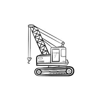 Ícone de doodle de contorno desenhado de mão de guindaste ilustração do esboço do vetor da indústria da construção com guindaste de elevação para impressão, web, mobile e infográficos isolados no fundo branco.