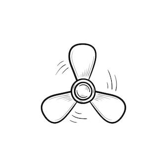 Ícone de doodle de contorno desenhado de mão de hélice de barco. hélice do motor de navio, rotação da hélice e conceito marinho