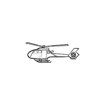Ícone de doodle de contorno desenhado de mão de helicóptero. helicóptero médico e de emergência, conceito de serviço médico