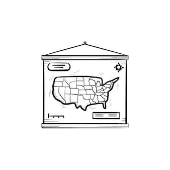 Ícone de doodle de contorno desenhado de mão de mapa mundial. mapa do mundo escolar pendurado na ilustração do esboço do vetor da parede para impressão, web, mobile e infográficos isolados no fundo branco.