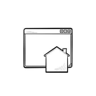 Ícone de doodle de contorno desenhado de mão de página inicial. navegador da web e página inicial do site, página inicial e conceito de internet