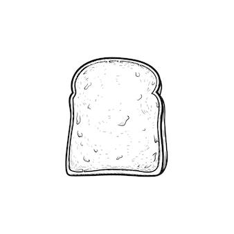 Ícone de doodle de contorno desenhado de mão de pão torrado de trigo integral. fatia de pão para ilustração de desenho vetorial sanduíche para impressão, web, mobile e infográficos isolados no fundo branco.
