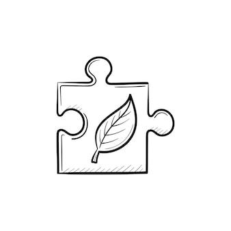 Ícone de doodle de contorno desenhado de mão de peça do quebra-cabeça. conceito de responsabilidade ecológica. ilustração em vetor desenho de peça de quebra-cabeça para impressão, web, mobile e infográficos isolados no fundo branco.