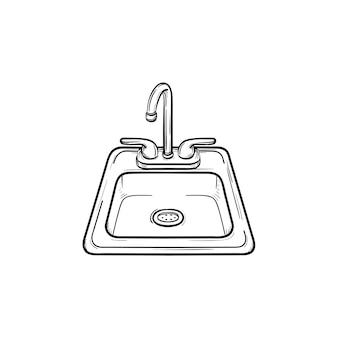 Ícone de doodle de contorno desenhado de mão de pia de banheiro. afundar a ilustração do esboço do vetor para impressão, web, mobile e infográficos isolados no fundo branco.