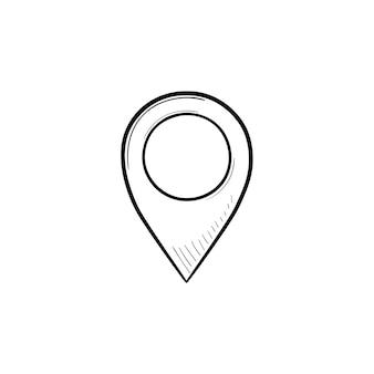 Ícone de doodle de contorno desenhado de mão de pino de localização. ponteiro do mapa, localização do lugar, pino do gps e conceito de navegação