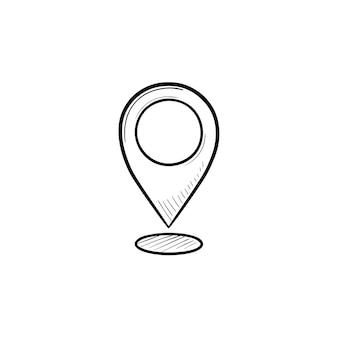 Ícone de doodle de contorno desenhado de mão de ponteiro de mapa. localização e destino gps, marcador de localização e conceito de pino
