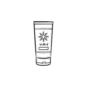 Ícone de doodle de contorno desenhado de mão de protetor solar. tubo de creme de proteção solar, proteção para a pele e conceito de banho de sol