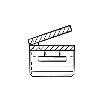 Ícone de doodle de contorno desenhado de mão de ripa de filme. conceito de direção e produção