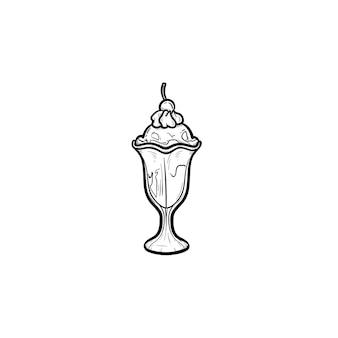 Ícone de doodle de contorno desenhado de mão de sorvete. xícara de ilustração de desenho vetorial de sorvete de sorvete decorado para impressão, web, mobile e infográficos isolados no fundo branco.
