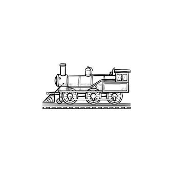 Ícone de doodle de contorno desenhado de mão de trem vintage. transporte ferroviário, locomotiva a vapor, conceito de trem retrô