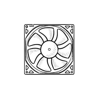 Ícone de doodle de contorno desenhado de mão de ventilador de computador. refrigerador de computador, hardware de pc, conceito de equipamento de refrigeração