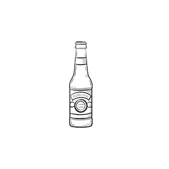 Ícone de doodle de contorno desenhado de mão garrafa de cerveja. ilustração em vetor desenho de garrafa de cerveja artesanal para impressão, web, mobile e infográficos isolados no fundo branco.
