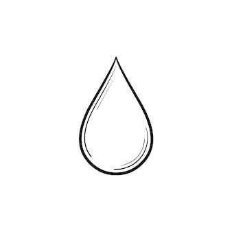 Ícone de doodle de contorno desenhado de mão gota de água. ilustração de desenho vetorial de gota de água doce clara para impressão, web, mobile e infográficos isolados no fundo branco.