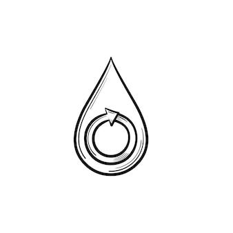 Ícone de doodle de contorno desenhado de mão gota de água. seta circular em uma ilustração de esboço de vetor de gota d'água para impressão, web, mobile e infográficos isolados no fundo branco.