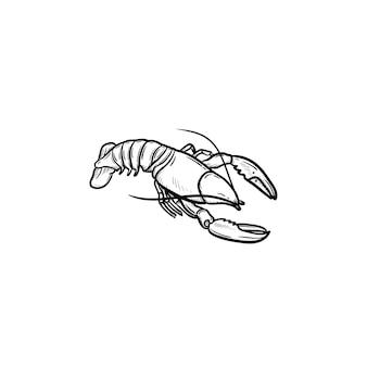 Ícone de doodle de contorno desenhado de mão lagosta. ilustração em vetor esboço de frutos do mar saudáveis - lagosta ou câncer para impressão, web, mobile e infográficos isolados no fundo branco.