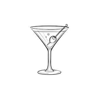 Ícone de doodle de contorno desenhado de mão licor. ilustração de desenho vetorial de licor de martini com azeitona para impressão, web, mobile e infográficos isolados no fundo branco.
