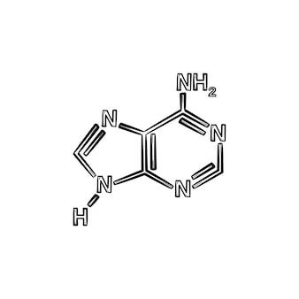 Ícone de doodle de contorno desenhado de mão molécula. conceito de química. modelo de ilustração de desenho vetorial molécula para impressão, web, mobile e infográficos isolados no fundo branco. Vetor Premium