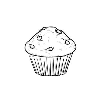 Ícone de doodle de contorno desenhado de mão muffin. ilustração em vetor desenho de bolinho para impressão, web, mobile e infográficos isolados no fundo branco.