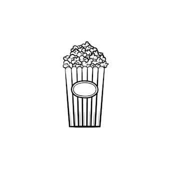 Ícone de doodle de contorno desenhado de mão pipoca. balde de papelão listrado cheio de ilustração de desenho vetorial pipoca para impressão, web, mobile e infográficos. comida para evento de entretenimento e show de circo.