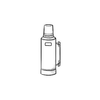 Ícone de doodle de contorno desenhado de mão térmica. ilustração em vetor desenho de garrafa térmica para impressão, web, mobile e infográficos isolados no fundo branco.