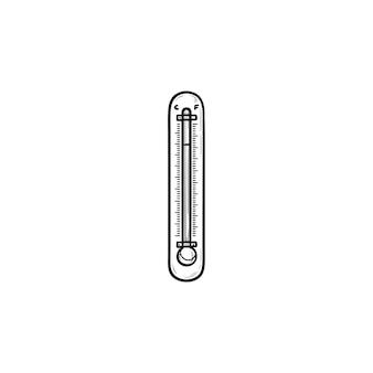 Ícone de doodle de contorno desenhado de mão termômetro. medição de temperatura, conceito de tempo e mudança climática. ilustração de desenho vetorial para impressão, web, mobile e infográficos em fundo branco.