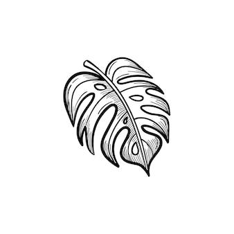 Ícone de doodle de contorno em folha de palmeira desenhada mão do vetor. ilustração do esboço em folha de palmeira para impressão, web, mobile e infográficos isolados no fundo branco.