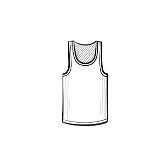 Ícone de doodle de contorno superior do tanque de vetor desenhado à mão. ilustração do esboço da camiseta para impressão, web, mobile e infográficos isolados no fundo branco.