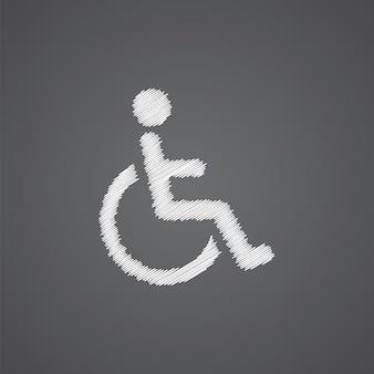 Ícone de doodle de logotipo de esboço de aleijado isolado em fundo escuro