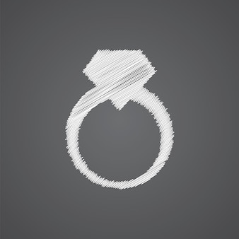 Ícone de doodle de logotipo de esboço de anel de joias isolado em fundo escuro