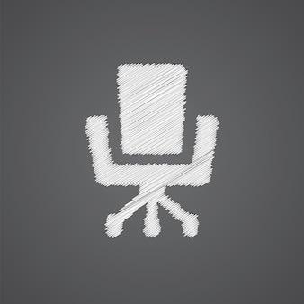 Ícone de doodle de logotipo de esboço de cadeira de escritório isolado em fundo escuro