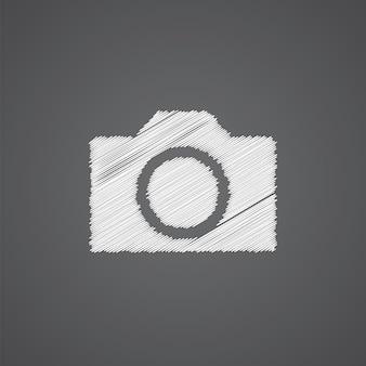 Ícone de doodle de logotipo de esboço de câmera fotográfica isolado em fundo escuro