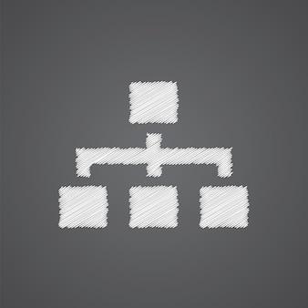 Ícone de doodle de logotipo de esboço de hierarquia isolado em fundo escuro