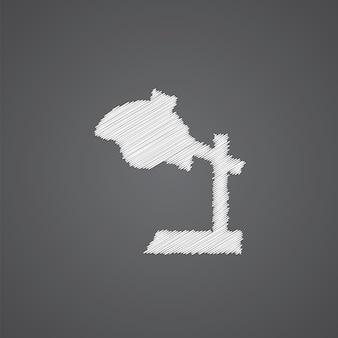 Ícone de doodle de logotipo de esboço de lâmpada de leitura isolado em fundo escuro