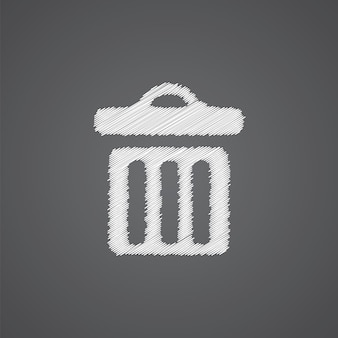 Ícone de doodle de logotipo de esboço de lixeira isolado em fundo escuro