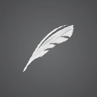 Ícone de doodle de logotipo de esboço de penas isolado em fundo escuro