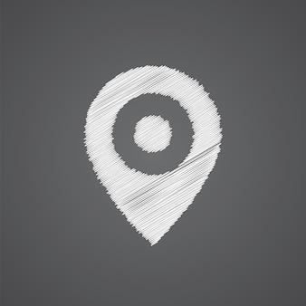 Ícone de doodle de logotipo de esboço de pino de mapa isolado em fundo escuro