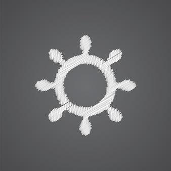 Ícone de doodle de logotipo de esboço de roda de navio isolado em fundo escuro