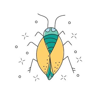 Ícone de doodle desenhado de mão de besouro. ilustração do esboço do vetor inseto besouro para impressão, web, mobile e infográficos isolados no fundo branco.