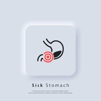 Ícone de dor de estômago. ícones de estômago saudável. logotipo do estômago doente. sinal de dor de estômago. ícone gastrointestinal. vetor. ícone da interface do usuário. botão da web da interface de usuário branco neumorphic ui ux. neumorfismo