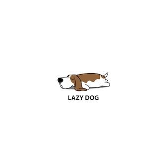 Ícone de dormir de cão basset basset preguiçoso