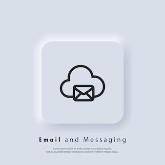 Ícone de e-mail e mensagens. envelope com nuvem. ícone de e-mail. logotipo do boletim informativo. campanha de email marketing. vetor eps 10. ícone de interface do usuário. botão da web da interface de usuário branco neumorphic ui ux. neumorfismo