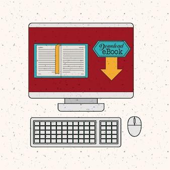 Ícone de ebook e computador