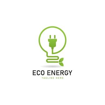 Ícone de economia de energia com uma lâmpada estilizada incorporando verde