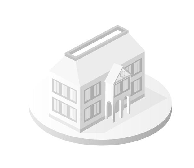 Ícone de edifício branco arquitetura residencial de edifício inteligente é uma ideia de tecnologia de negócios equipamentos estilo plano ilustração isométrica urbana