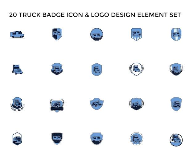 Ícone de emblema de caminhão design de logotipo do ícone