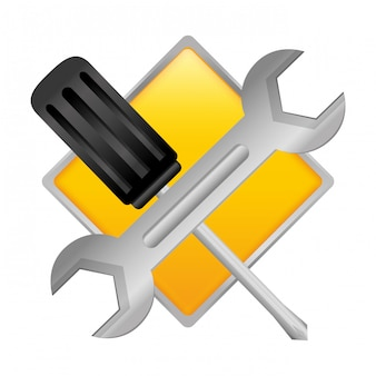 Ícone de emblema de estoque de oficina técnica